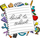 School stuffs on paper. Illustration of School stuffs on paper Royalty Free Stock Photography