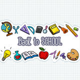 School stuffs on paper Royalty Free Stock Photos