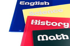 School subject folders. Four colorful school subject folders  on a white background Stock Images