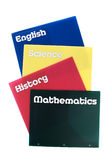 School subject notebooks Stock Images