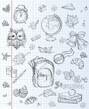 School subjects backpack, paints, Globe and autumn leaves. black contour stock illustration