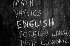 School subjects on blackboard Stock Photo