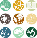 School subjects icons royalty free illustration