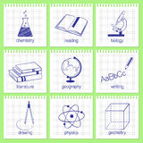 School subjects icons Royalty Free Stock Photos
