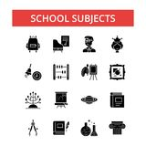 School subjects illustration, thin line icons, linear flat signs vector illustration