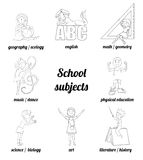School subjects vector coloring page Stock Image