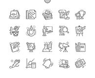 School Subjects Well-crafted Pixel Perfect Vector Thin Line Icons 30 2x Grid for Web Graphics and Apps. Simple Minimal Pictogram Stock Images