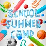 School summer camp. Themed poster, vector illustration royalty free illustration