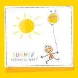 School Summer vacation, children holiday card Royalty Free Stock Photos