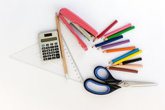 School suplies. Back to school. Stationery isolated on white Royalty Free Stock Photos