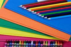 School suply. Closeup of colourful kit of school supplies stock image