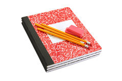 School Supplies. Composition book, pencils and erasers Stock Image