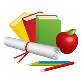 School Supplies. Vector illustration of 3d School Supplies and red apple Stock Image