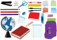 School supplies. Different school or office supplies isolated on white background Royalty Free Stock Images