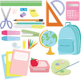 School supplies. A  illustration of a variety of school supplies Stock Image