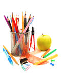 School supplies. Assortment of school or office supplies on a white background Royalty Free Stock Photo