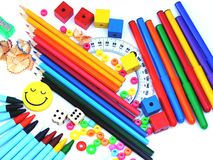 School supplies. Colour school supplies on white background Stock Photography