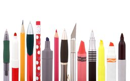 School supplies. Art and craft supplies including pencils, ballpoint pens, colored pencils, cutter, highlighter, crayon Stock Image