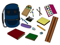 School supplies. Illustration of a set of common school supplies Stock Photo