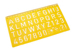 School supplies 42. Close up of stencil on white background with clipping path Stock Image