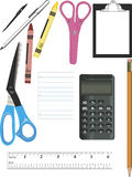 School Supplies. Several images of school or craft supplies ideal for promotions, including scissors, pencil, pens, crayons, calculator, and ruler Royalty Free Stock Photo
