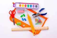 School Supplies. Back to school supplies for a student Stock Photo