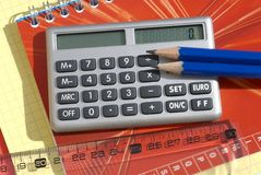 School supplies. With calculator, ruler stock images