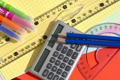 School supplies. Close up of different rulers and school supplies royalty free stock photos