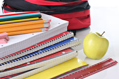 School supplies. Pencils, paper and other back to school supplies Stock Image