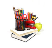 School supplies and accessories, books, pencils isolated on whit Royalty Free Stock Image