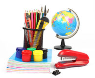 School supplies and accessories isolated on white background Royalty Free Stock Images