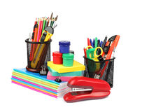 School supplies and accessories isolated on white background. Royalty Free Stock Image