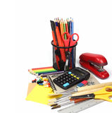 School supplies and accessories, notebook, pencils isolated on w Stock Photo