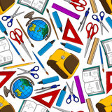 School supplies and accessories seamless pattern Stock Images