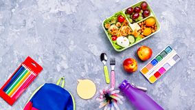 Free School Supplies And Lunchbox With Food For Kids. Colorful Stationery Layout On Multicolor Background, Copy Space Royalty Free Stock Photos - 153787668