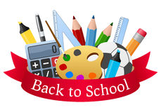 School Supplies And Red Ribbon Stock Photos