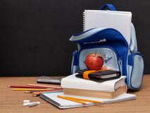 School Supplies with apple Royalty Free Stock Image