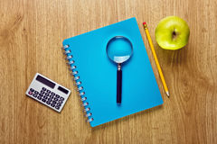 School Supplies and Apple Stock Photo