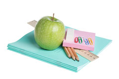 School supplies with apple Stock Image