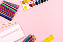School supplies arrangement. Back to school concept, copy space Royalty Free Stock Photography
