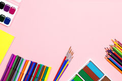 School supplies arrangement. Back to school concept, copy space Royalty Free Stock Photo