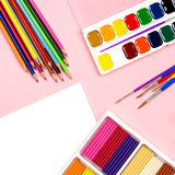School supplies arrangement. Back to school concept, copy space Royalty Free Stock Photos