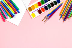 School supplies arrangement. Back to school concept, copy space Royalty Free Stock Image