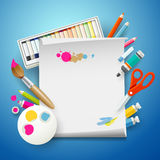 School Supplies Art and empty white paper Royalty Free Stock Photo