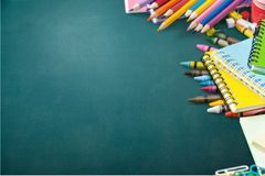 School supplies. Back background blackboard books color colorful Royalty Free Stock Image