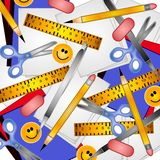 School Supplies Background. A background illustration of back to school supplies in the form of a collage including binders, paper, ruler, scissors, pencil,pen Royalty Free Stock Photography