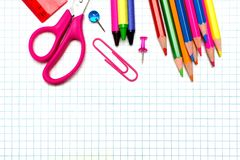 School supplies background Stock Image