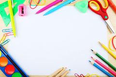 School supplies, background with copy space. Royalty Free Stock Photo