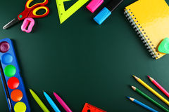 School supplies, background with copy space Royalty Free Stock Image