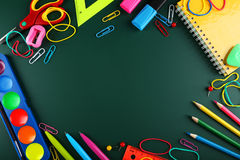 School supplies, background with copy space Stock Photos